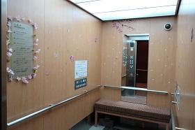 エレベータ桜飾り